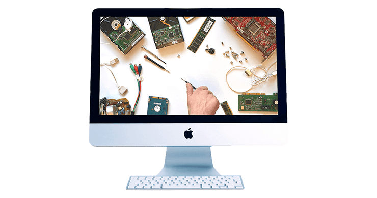Apple hardware repair training represented by computer parts on Apple monitor
