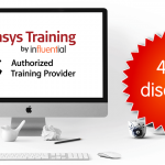 Online Apple training offer represented by discount badge by Apple monitor