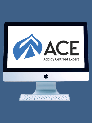 Addigy Certified Expert training represented by ACE logo on Apple monitor