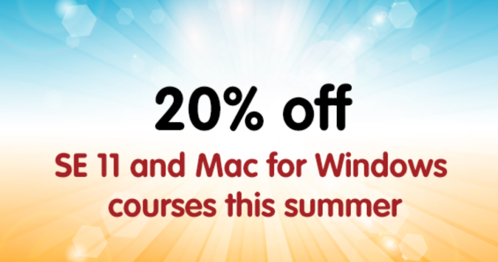 graphic contains text on our apple training summer offer: 20 percent off support essentials 11 and mac for windows courses this summer